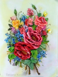 picture Flowers composition Silk ribbon by SilkRibbonembroidery, €100.00