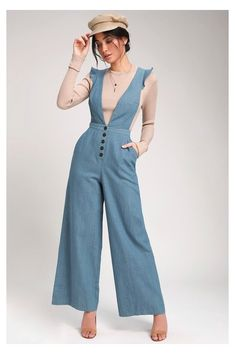 Classy Outfits, Vintage Outfits, Casual Outfits, Vintage Fashion, Vintage Style, 1930s Fashion, Vintage Wear, Overalls Vintage, Denim Overalls