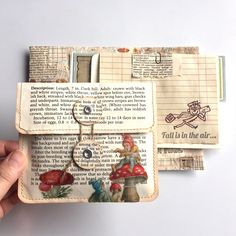 Fall is in the air... 🍂🍄🍁 Preparing a small parcel to send out soon. I made/sewed some envelopes using vintage book pages to put ephemera… Papel Origami, Diy Papier, Book Page Crafts, Recycled Books, Envelope Art, Tampons, Handmade Books, Book Pages, Book Making