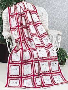 "Valentine Afghan - Crochet your loved one a red-and-white afghan of hearts. Bet you get a smooch for your labor of love!  Afghan size: 46-1/2 x 64-1/2"" (appx)  Skill level: Easy  Designed by Katherine Eng  free pdf from freepatterns.com"