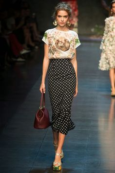 Great mix of prints - but use a shorter skirt if you're petite!