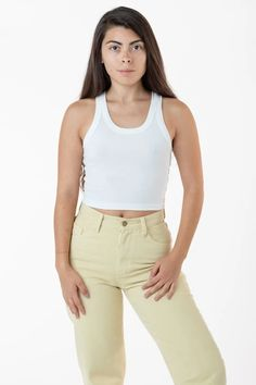 4328 - Sporty Baby Rib Crop Tank – Los Angeles Apparel Garment Manufacturing, Creme Color, Sweaters And Leggings, Jumpsuit Dress, Cotton Style, Crop Tank, Cute Outfits, Sporty, Clothes