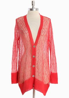 """Open Horizons Knit Cardigan 48.99 at shopruche.com. Crafted in a soft linen, this delicately knit red coral cardigan is perfected with abalone buttons, a flattering v-neckline, and ribbing at the cuffs and hem.  100% Linen, Imported, 31"""" length from top of shoulder"""