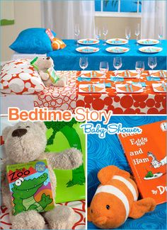 Bedtime story. How cute would it be for every table to have a different bedtime theme or even baby movie theme! LOVE it