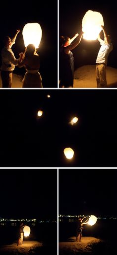 Letting Chinese wish lanterns fly after reception (instead of fireworks!)..how cute!