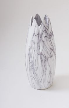 "16"" Contemporary White Marbled Ceramic Decorative Vase Modern Decor"