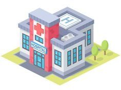 Hospital designed by Zaib Ali. Connect with them on Dribbble; Minecraft City, Minecraft Projects, Minecraft Houses, Minecraft Plans, Minecraft Stuff, Isometric Art, Isometric Design, Hospital Games, First Grade Projects