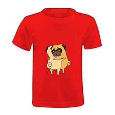 Chas Pug Hugs Kid's Crew Neck Cotton T-shirt Red - Brought to you by Avarsha.com