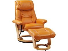 Latitude Run Beaucet Leather Manual Swivel Recliner with Ottoman Upholstery Color: Orange Swivel Recliner Chairs, Recliner With Ottoman, Recliners, Leather Bean Bag Chair, Leather Recliner, Buy Chair, Fabric Ottoman, Chair Types, Manual