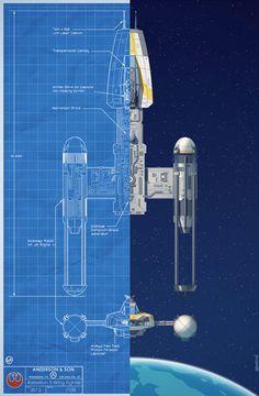 Blueprints de naves rebeldes en la batalla Yavin de Star Wars | Vecindad Gráfica Diseño Gráfico