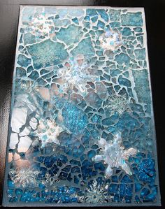 Snowfall-My Exchange Piece for MASGO - tempered glass, pc snowflakes, beads and ribbon Mosaic Crafts, Mosaic Projects, Mosaic Art, Mosaic Glass, Mosaic Tiles, Fused Glass, Aqua Glass, Blue Mosaic, Tiling
