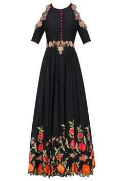 Black floral embroidered cold shoulder flared anarkali set available only at Pernia's Pop Up Shop.