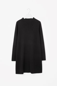 COS image 4 of A-line merino dress in Black