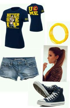 Want this outfit so damn bad! :) Also the bracelet and blue converse too. Wwe Outfits, Fashion Outfits, Womens Fashion, Fashion Ideas, John Cena, Wwe Costumes, Blue Converse, Other Outfits, My Style
