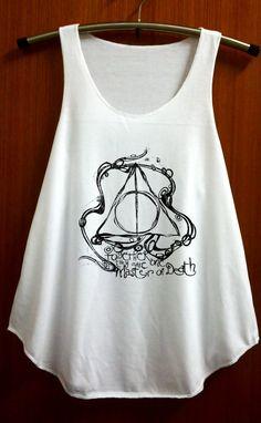 Deathly Hallows Shirt Harry Potter Clothing Top Women Tank Top Women Shirt White Shirt Tunic Top Singlet Vest Women Top Sleeveless Size S M on Etsy, $14.99