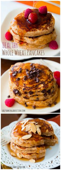 Whole Wheat Oatmeal Pancakes made with simple, wholesome ingredients like oats, WW flour, and Greek yogurt. Top with your favorites!