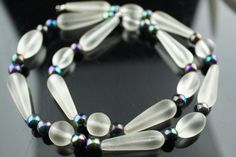 Vintage Art Deco necklace chain  beads clear oval ball multicolor gift  circa  Modernist   q146 by VintageEstate86 on Etsy