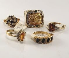 18K Goldplated rings vintage lot of 5 , Size 5,USA made, CZs, marked,(LotM61)NR #AmericanRing #Variety