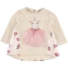 Ivory stretch viscose jersey T-shirt with a flower-printed silk patch in the back. Round neck with a Monnalisa logo button. Long sleeves. Fancy print on the chest. Light pink topstitching on the neckline. - $ 115.00