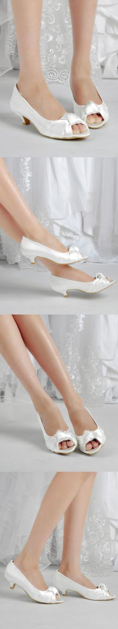 Wedding Shoes And Bridal Shoes: Ep2045 White Peep Toe Pumps Low Heel Knot Satin Bridal Wedding Party Shoes Us 5 BUY IT NOW ONLY: $36.95