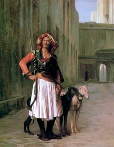 """Jean-Leon Gerome, """"Arnaut from Cairo"""", a French painter and sculptor. The range of his oeuvre included historical painting, Greek mythology, Charles Gleyre, Jean Leon, Empire Ottoman, Munier, Greyhound Art, Academic Art, Art Society, Illustration, Art Database"""