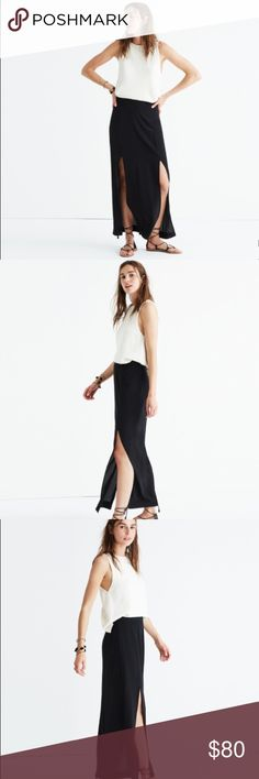 "Silk Two-Slit Maxi Skirt PRODUCT DETAILS: FROM MADEWELL  Sleek and sexy, this maxi is the skirt version of your favorite LBD. Our favorite part? Two high slits give this one some major drama (walk around in it on a breezy day, you'll see why *wink*).  Full skirt. 39"" long. Silk. Lined. Dry clean. Import. Item G6489. Madewell Skirts Maxi"