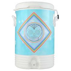 Day of the Dead Sugar Skull Custom Cooler by Janz Igloo Beverage Dispenser