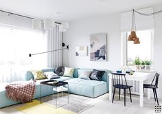 Scandinavian apartment design with beautiful and cute style designs ideas.