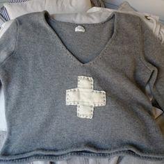 Graue wolle Damen Pullover Größe l von MegbyDesign auf Etsy