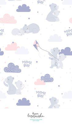 Mama Bear - textile design, pattern design, cute pattern, illustration, children illustration, children bedding, children pattern design, cute illustration, clouds, bears, kite, pastel, scandinavian design, bedding, children bedding