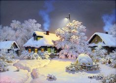 Snowy village - snow, frost, winter, cold, village, painting, houses, beautiful, evening, art