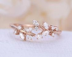 Bridal Jewelry Rose gold engagement ring Diamond Cluster ring Unique engagement ring leaf wedding Bridal Jewelry Anniversary Valentine's Day Gift for women - Bridal Rings, Wedding Ring Bands, Bridal Jewelry, Gold Jewelry, Topaz Jewelry, Jewellery Box, Hippie Wedding Ring, Wedding Ring Styles, Jewelry Stand