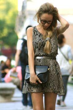 Snake skin pattern, purse, glassez.
