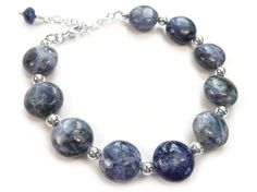 Gemstone Bracelet - Sodalite and Crystal Sterling Silver Jewelry, Gemstone Jewelry, Ancient Tomb, Simple Bracelets, Semi Precious Gemstones, Jewelry Collection, Swarovski Crystals, Pearls, Chain