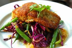 Asian recipes-Panfried Hake-with Spicy Satay salad