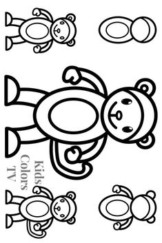 Glitter Monkey Drawing and Coloring Pages for Kids Toddlers 👫 Kids Colors TV