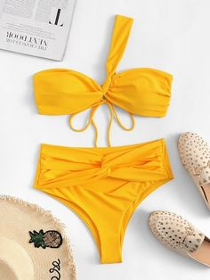 Shop One Shoulder Top With Twist Tie High Waist Bikini online. SHEIN offers One Shoulder Top With Twist Tie High Waist Bikini & more to fit your fashionable needs. One Piece Swimwear, Bikini Swimwear, Bikini Set, Swimsuits, Si Swimsuit, Romwe, Trendy Swimwear, High Cut Bikini, Beach Wear
