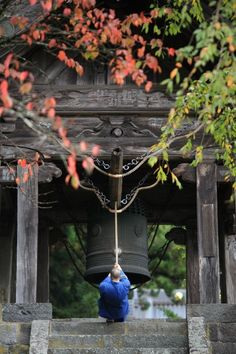 Ringing the temple bell, Japan
