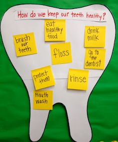 Post-it project testing their knowledge on what makes teeth healthy. Wachusett Pediatric Dentistry - www.dentalhealth4kids.com