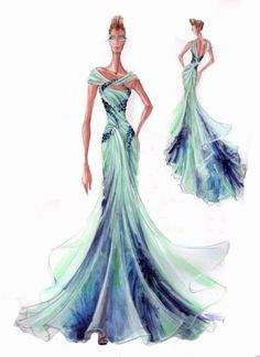 Blanka Matragi – sketch of dresses   Luxussilk