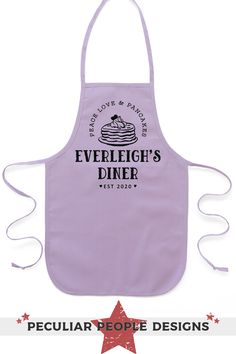 Bring baking to a new level for your favorite kitchen helper with this adorable, bakery shop apron; personalized with their name, it'll make them feel like a real baker. Little girls, boys and toddlers adore these customized children's aprons, featuring a stack of pancakes, whether as custom gifts, birthday party favors, or just because! Available in 5 cute colors and 2 child sizes, fitting kids ages 2-10. *Refer to the size chart to choose the correct size, and to be sure the apron will fit…