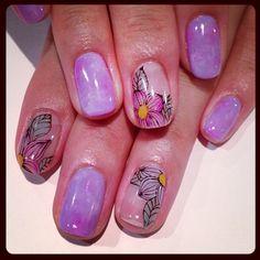 Translucent flower art nails (NailSalon AVARICE)