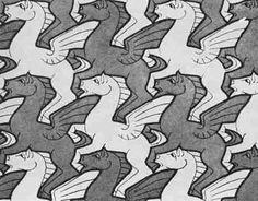 Op deze afbeelding staat steeds dezelfde draak. Omdat deze draak vormen heeft die precies aan elkaar passen kan je een hele afbeelding vullen met alleen deze draak.