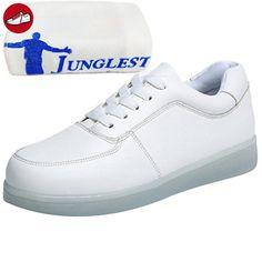 (Present:kleines Handtuch)Weiß 43 EU 7 mode Unisex LED Damen LED Farbwechsel Licht Schuhe Licht Blitzen JUNGLEST ueo4A7C8t