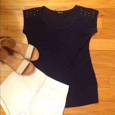 Wet seal navy spiked tshirt Worn once, no damage, spikes on shoulders, form fitting, open to reasonable offers, no trades Wet Seal Tops Tees - Short Sleeve