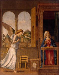 CIMA da Conegliano The Annunciation 1495 Tempera and oil on canvas transferred from wood, 136 x 107 cm The Hermitage, St. Petersburg