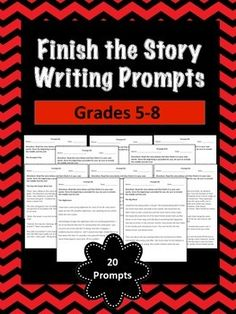 Finish the Story Writing Prompt with Rubric includes: - 20 Finish the Story Writing Prompts- Lined pages for reproducing (not counted in page count)- Finish the Story Writing Prompt RubricYou may also be interested in:- Writing in Response to Reading Prompts for Grades 5-8