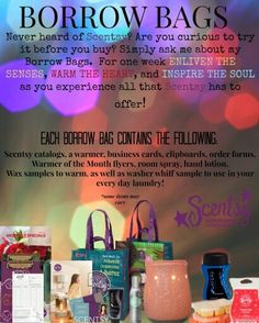 Try it before you buy it! #scentsy borrow bag is a great way to try Scentsy first. I'd love to introduce you to how amazing our products are you have nothing to lose www.jfarley.scentsy.us Jenn.farley75@gmail.com