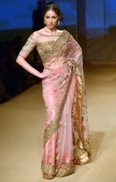 Gorgeous @AshimaLeenaAL http://www.al-design.in/  #Saree & Blouse, Jashn @ BMW #IBFW2014 (August) via @sunjayjk