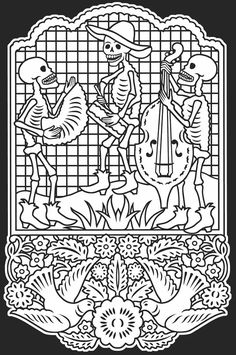 Day of the Dead/Dia de los Muertos Stained Glass Coloring Book Dover Publications   I love the bottom of this... with the doves